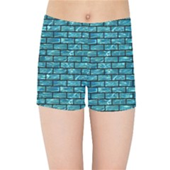 Brick1 Black Marble & Blue Green Water (r) Kids Sports Shorts
