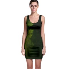 Beautiful Fractal Pines In The Misty Spring Night Sleeveless Bodycon Dress
