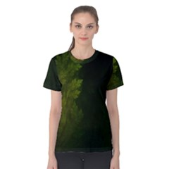 Beautiful Fractal Pines In The Misty Spring Night Women s Cotton Tee