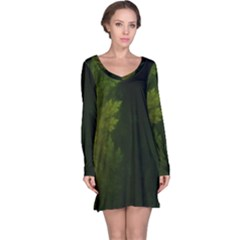 Beautiful Fractal Pines In The Misty Spring Night Long Sleeve Nightdress