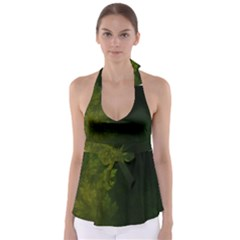 Beautiful Fractal Pines In The Misty Spring Night Babydoll Tankini Top