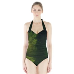 Beautiful Fractal Pines In The Misty Spring Night Halter Swimsuit