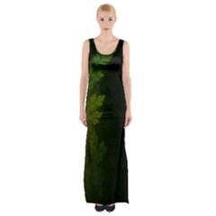 Beautiful Fractal Pines In The Misty Spring Night Maxi Thigh Split Dress