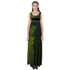 Beautiful Fractal Pines In The Misty Spring Night Empire Waist Maxi Dress