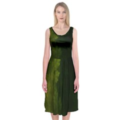 Beautiful Fractal Pines In The Misty Spring Night Midi Sleeveless Dress