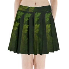Beautiful Fractal Pines In The Misty Spring Night Pleated Mini Skirt