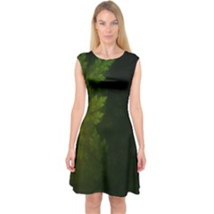 Beautiful Fractal Pines In The Misty Spring Night Capsleeve Midi Dress
