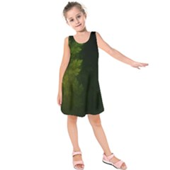 Beautiful Fractal Pines In The Misty Spring Night Kids  Sleeveless Dress