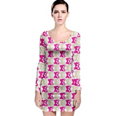 Geometric Pattern 134 03 161220 Long Sleeve Bodycon Dress