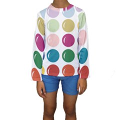 Brights Pastels Bubble Balloon Color Rainbow Kids  Long Sleeve Swimwear