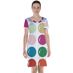Brights Pastels Bubble Balloon Color Rainbow Short Sleeve Nightdress
