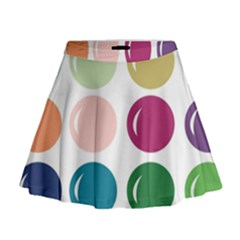 Brights Pastels Bubble Balloon Color Rainbow Mini Flare Skirt