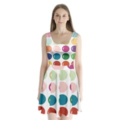 Brights Pastels Bubble Balloon Color Rainbow Split Back Mini Dress