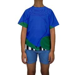 Blue Flower Leaf Black White Striped Rose Kids  Short Sleeve Swimwear