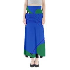 Blue Flower Leaf Black White Striped Rose Full Length Maxi Skirt