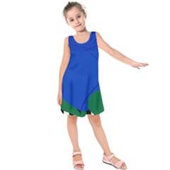 Blue Flower Leaf Black White Striped Rose Kids  Sleeveless Dress