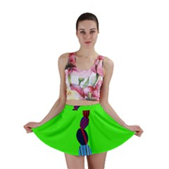 Egg Line Rainbow Green Mini Skirt