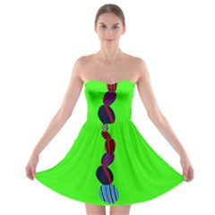 Egg Line Rainbow Green Strapless Bra Top Dress