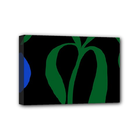 Flower Green Blue Polka Dots Mini Canvas 6  X 4