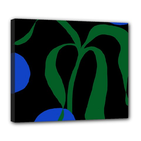 Flower Green Blue Polka Dots Deluxe Canvas 24  x 20