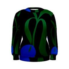 Flower Green Blue Polka Dots Women s Sweatshirt
