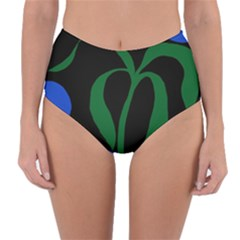 Flower Green Blue Polka Dots Reversible High Waist Bikini Bottoms