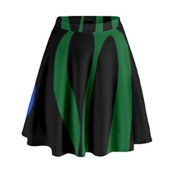 Flower Green Blue Polka Dots High Waist Skirt