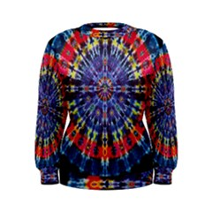 Circle Purple Green Tie Dye Kaleidoscope Opaque Color Women s Sweatshirt