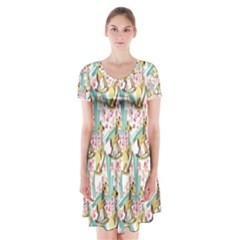 Wooden Gorse Illustrator Photoshop Watercolor Ink Gouache Color Pencil Short Sleeve V-neck Flare Dress
