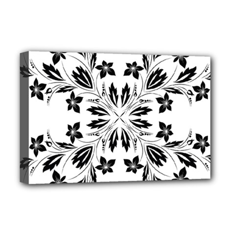 Floral Element Black White Deluxe Canvas 18  x 12