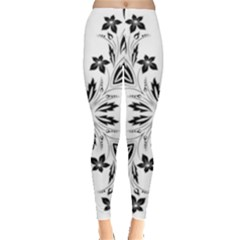 Floral Element Black White Leggings