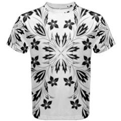 Floral Element Black White Men s Cotton Tee