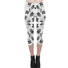 Floral Element Black White Capri Leggings