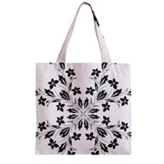Floral Element Black White Zipper Grocery Tote Bag