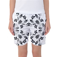Floral Element Black White Women s Basketball Shorts