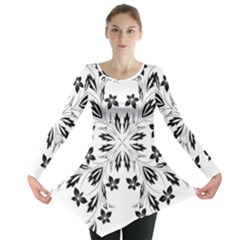 Floral Element Black White Long Sleeve Tunic