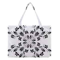 Floral Element Black White Medium Tote Bag