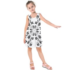 Floral Element Black White Kids  Sleeveless Dress