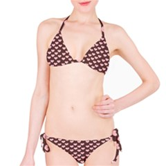 Chocolate Pink Hearts Gift Wrap Bikini Set