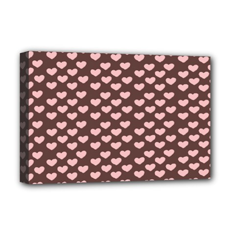 Chocolate Pink Hearts Gift Wrap Deluxe Canvas 18  x 12