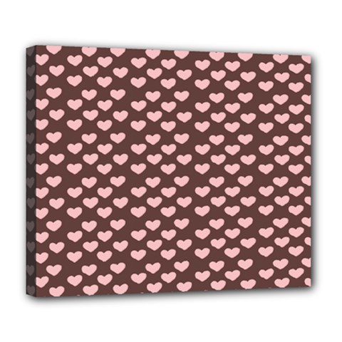 Chocolate Pink Hearts Gift Wrap Deluxe Canvas 24  x 20
