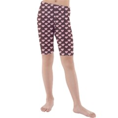 Chocolate Pink Hearts Gift Wrap Kids  Mid Length Swim Shorts