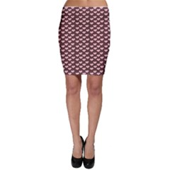 Chocolate Pink Hearts Gift Wrap Bodycon Skirt