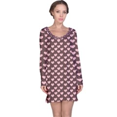 Chocolate Pink Hearts Gift Wrap Long Sleeve Nightdress