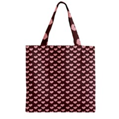 Chocolate Pink Hearts Gift Wrap Zipper Grocery Tote Bag