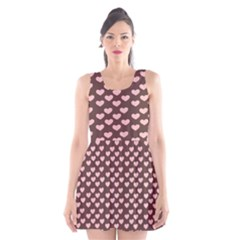 Chocolate Pink Hearts Gift Wrap Scoop Neck Skater Dress