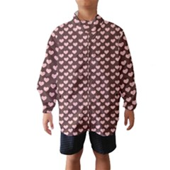 Chocolate Pink Hearts Gift Wrap Wind Breaker (Kids)