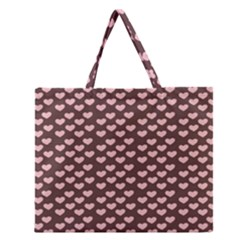 Chocolate Pink Hearts Gift Wrap Zipper Large Tote Bag