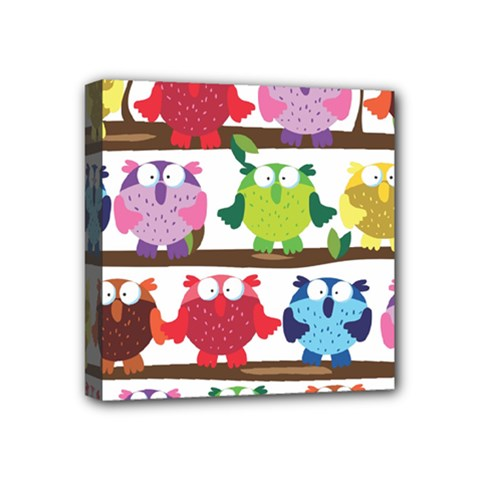 Funny Owls Sitting On A Branch Pattern Postcard Rainbow Mini Canvas 4  x 4