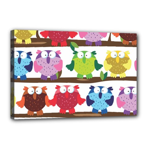 Funny Owls Sitting On A Branch Pattern Postcard Rainbow Canvas 18  x 12